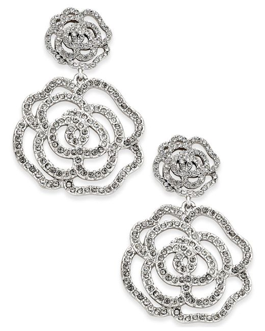 Kate Spade   Metallic Silver-tone Pavé Rose Drop Earrings   Lyst