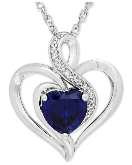 Macy's | Metallic Sapphire (1-3/4 Ct. T.w.) And Diamond Accent Heart Pendant Necklace In Sterling Silver | Lyst