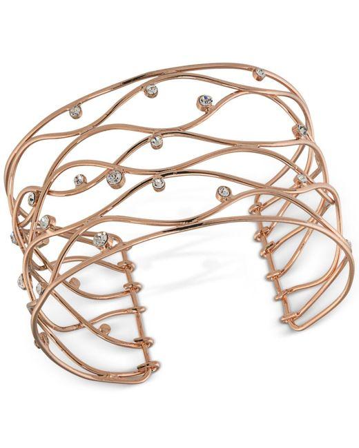 Carolee | Metallic Rose Gold-tone Crystal Studded Openwork Cuff Bracelet | Lyst