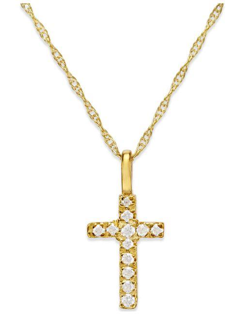 Macy's - Metallic Diamond Accent Cross Pendant Necklace In 14k Gold - Lyst