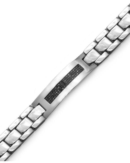Macy's   Men's Black Diamond Id Bracelet In Stainless Steel (3/8 Ct. T.w.) for Men   Lyst