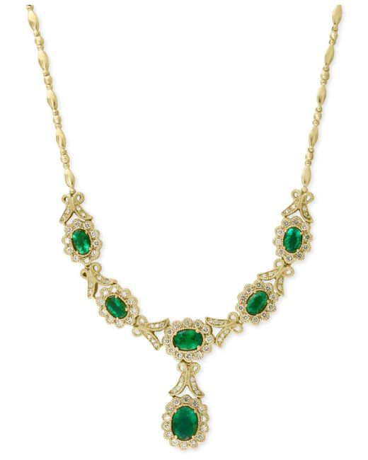 Effy Collection - Green Emerald (3-5/8 Ct. T.w.) And Diamond (1-1/2 Ct. T.w.) Collar Necklace In 14k Gold - Lyst