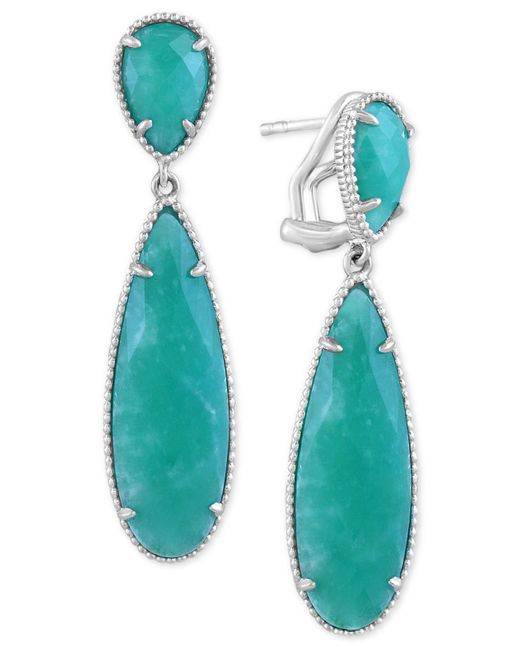 Effy Collection | Metallic Amazonite (11 X 7mm & 29 X 9mm) Teardrop Drop Earrings In Sterling Silver | Lyst