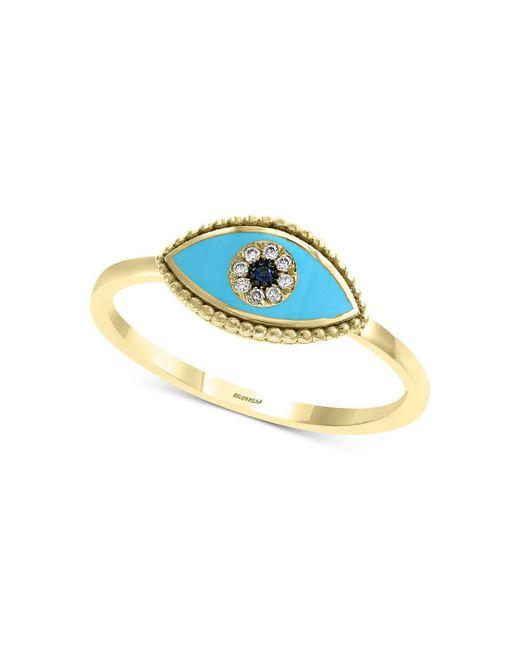 Effy Collection - Metallic Effy® Sapphire & Diamond Accent Evil Eye Ring In 14k Gold - Lyst