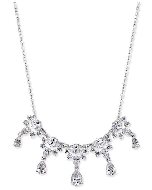 Danori | Metallic Silver-tone Cubic Zirconia Bliss Pear Bib Necklace | Lyst