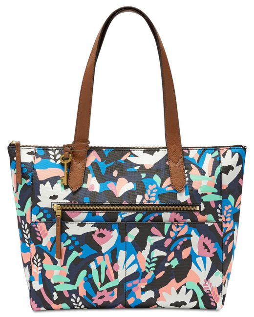 Fossil - Blue Fiona East West Medium Tote - Lyst