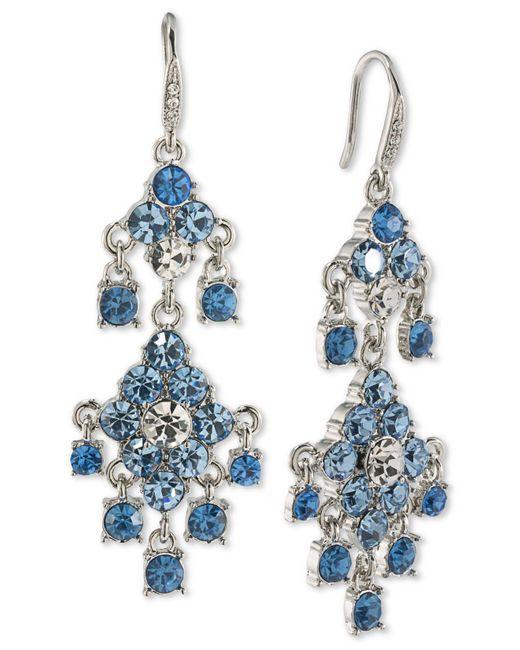 Carolee | Silver-tone Blue & Clear Crystal Chandelier Earrings | Lyst