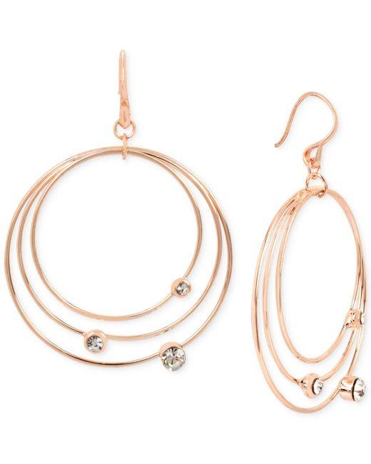 Touch Of Silver | Metallic Rose Gold-tone Orbital Drop Earrings | Lyst