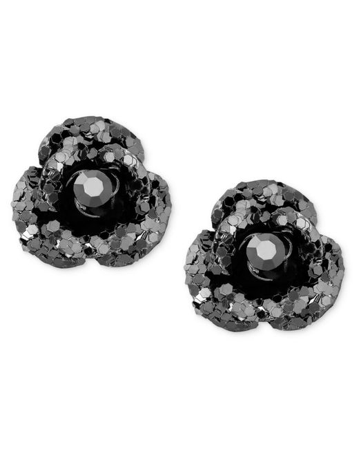 Betsey Johnson | Black Crystal Stud Earrings | Lyst