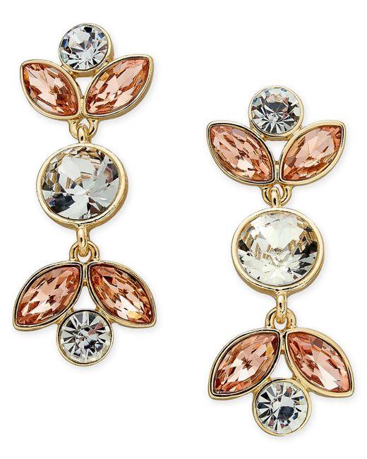 Charter Club | Metallic Gold-tone Peach & Clear Crystal Drop Earrings | Lyst