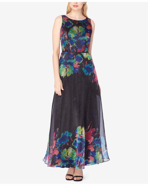 Tahari | Black Printed Organza Gown | Lyst