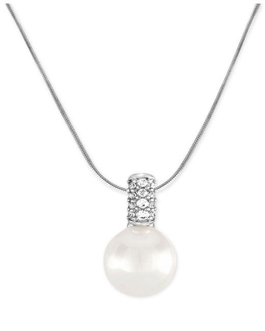 Majorica | White Sterling Silver Cubic Zirconia & Imitation Pearl Pendant Necklace | Lyst