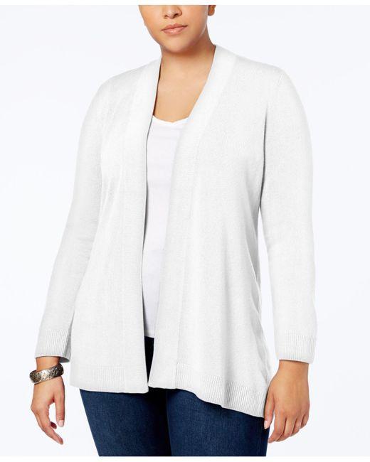 Karen Scott - White Plus Size Open-front Cardigan, Created For Macy's - Lyst