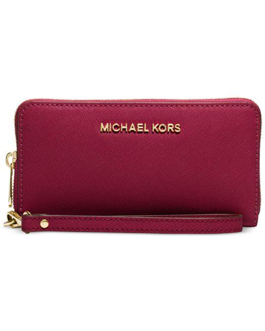 Michael Kors | Red Michael Jet Set Travel Large Flat Multifunction Wallet | Lyst