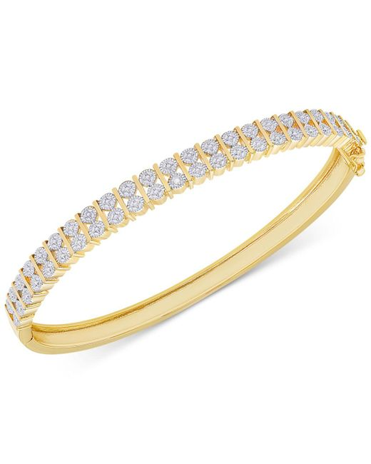 Macy's | Metallic Diamond Accent Hinged Bangle Bracelet In 18k Gold Over Silver-plated Brass | Lyst