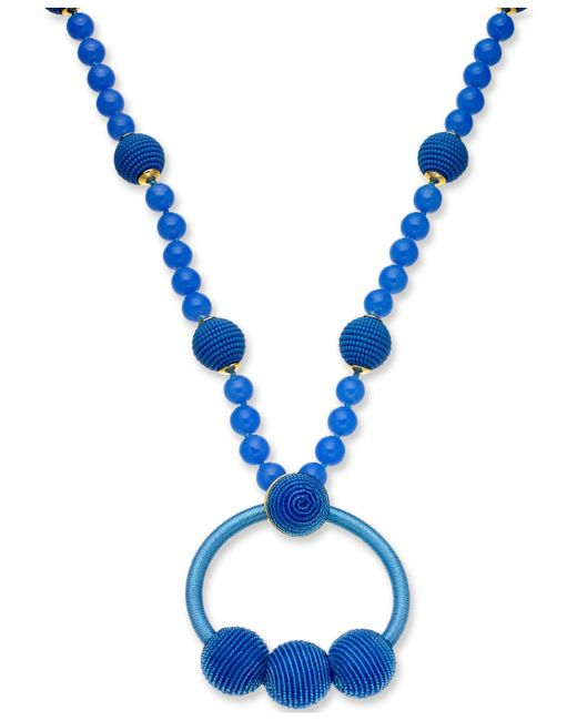 """Kate Spade - Blue Gold-tone Beaded & Wrapped Pendant Necklace, 28"""" + 3"""" Extender - Lyst"""