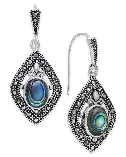 Macy's   Metallic Marcasite And Paua Shell Drop Earrings In Silver-plate   Lyst