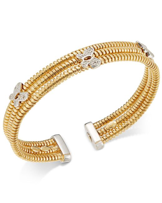 Macy's | Metallic Three Row Butterfly Bangle Bracelet In Sterling Silver And 14k Gold-plated Sterling Silver | Lyst