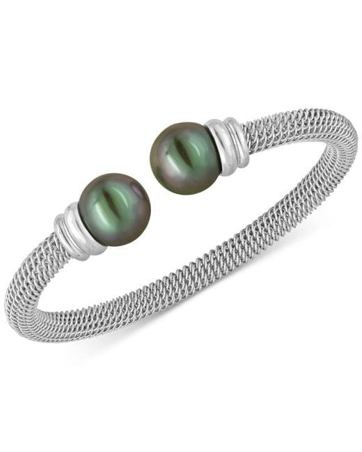 Majorica - Metallic Bracelet, Organic Man Made Black Pearl And Stainless Steel Bangle Bracelet - Lyst