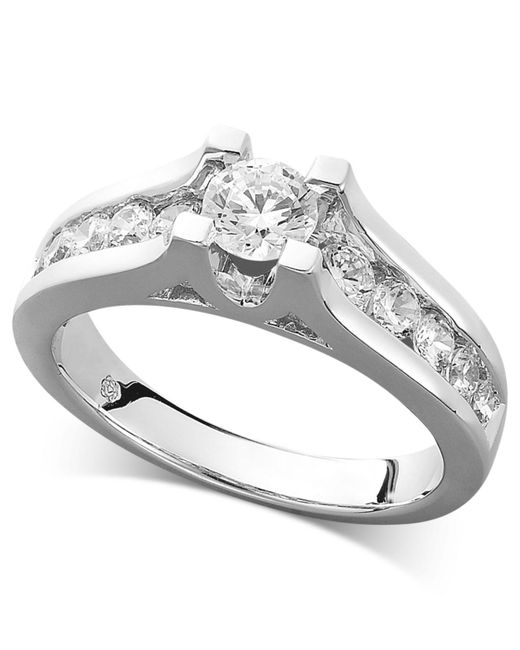 Macy's   Metallic Certified Diamond Channel Engagement Ring In 14k White Gold (1 Ct. T.w.)   Lyst