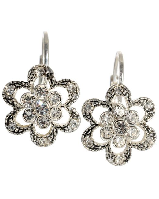 Betsey Johnson   Metallic Crystal Flower Earrings   Lyst