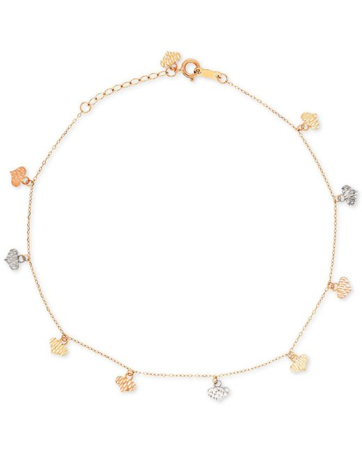 Macy's | Multicolor Tri-color Flat Heart Charm Ankle Bracelet In 14k Yellow, White, And Rose Gold | Lyst