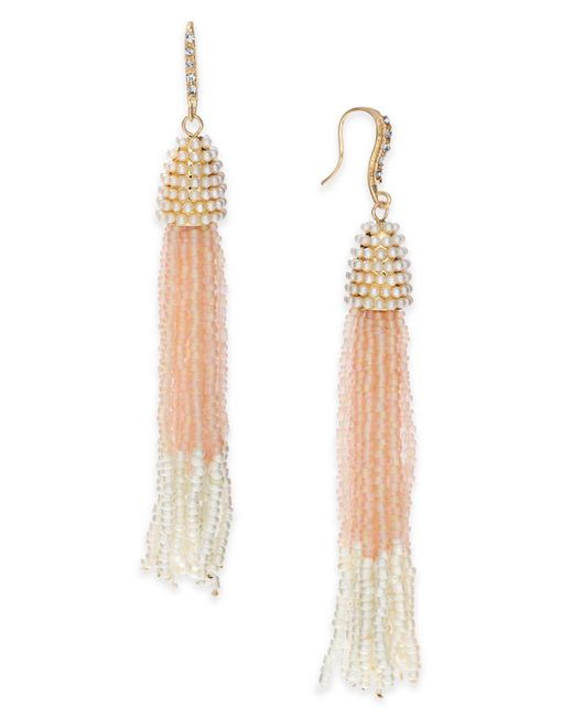 INC International Concepts - Pink Bead & Pavé Tassel Drop Earrings, Created For Macy's - Lyst