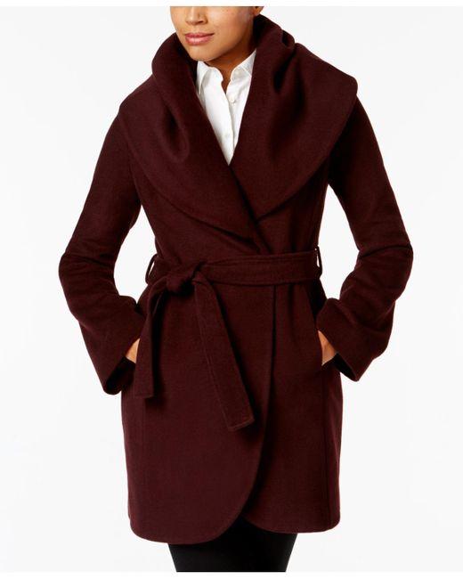 T Tahari | Red Marla Shawl-collar Wrap Coat | Lyst