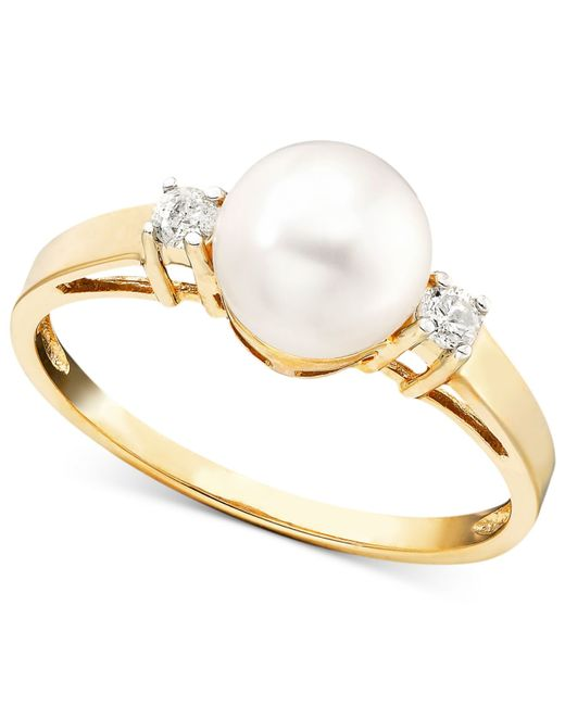 Macy's | White Cultured Freshwater Pearl (7mm) And Diamond Accent Ring In 14k Gold | Lyst