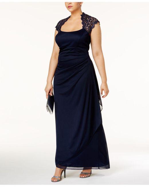 Xscape | Blue Ruched Lace Gown | Lyst