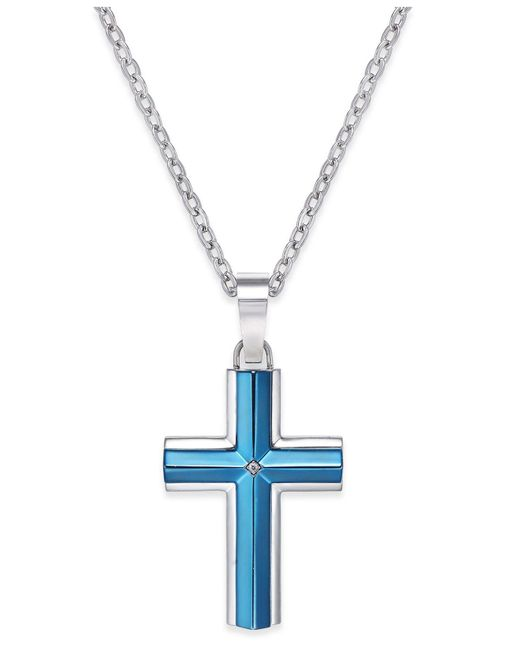 Macy's | Men's Diamond Accent Cross Pendant Necklace In Stainless Steel Blue Ion-plating for Men | Lyst