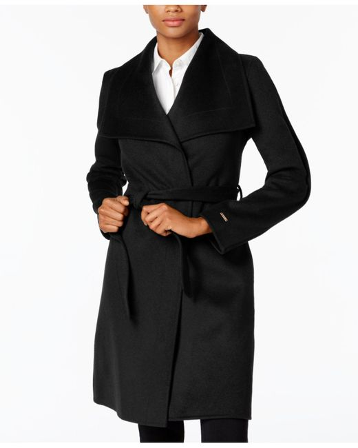 T Tahari | Black Wrap Coat | Lyst