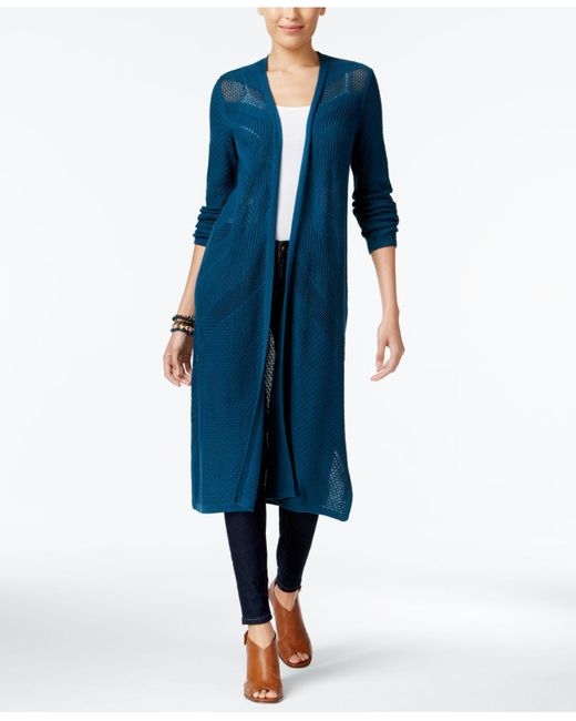 Style & Co. | Blue Petite Open-front Pointelle Duster Cardigan | Lyst