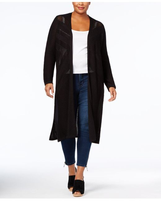 Style & Co. | Black Plus Size Open-front Duster Cardigan | Lyst
