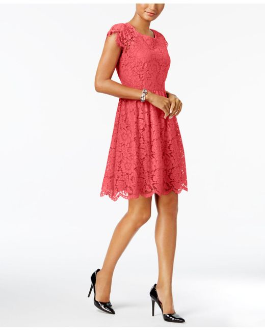 Jessica Simpson | Red Cap-sleeve Lace Fit & Flare Dress | Lyst