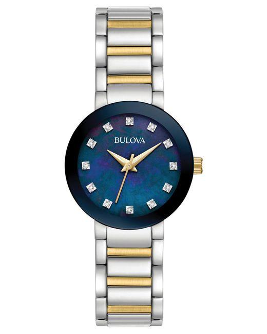 Bulova - Multicolor Women's Diamond Accent Two-tone Stainless Steel Bracelet Watch 26mm 98p157 - Lyst