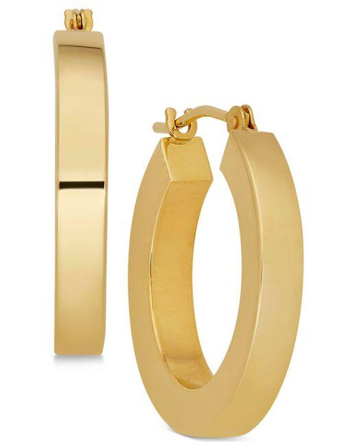 Macy's | Metallic Polished Chunky Flat-edge Tube Hoop Earrings In 14k Gold | Lyst