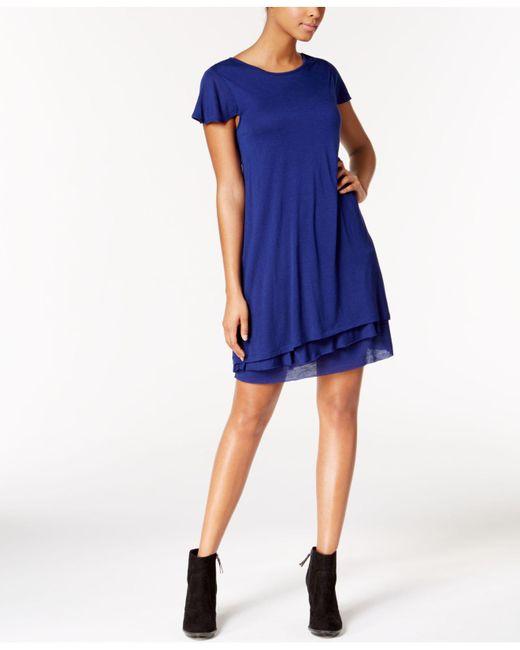 Kensie | Blue Heathered Tiered-hem Dress | Lyst