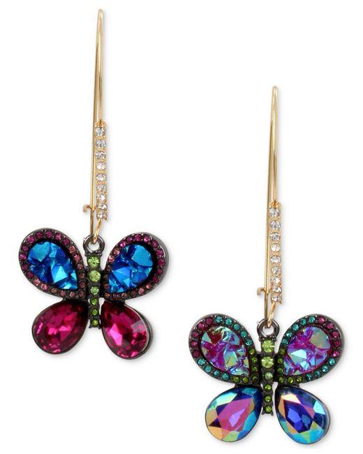 Betsey Johnson | Metallic Gold-tone Crystal Butterfly Mismatch Earrings | Lyst