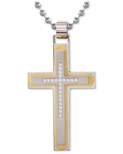 Macy's - Metallic Men's Diamond Cross Pendant Necklace (1/10 Ct. T.w.) In Stainless Steel With Yellow Ion-plate for Men - Lyst