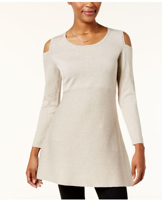 Style & Co. | Multicolor Petite Cold-shoulder Tunic Sweater | Lyst