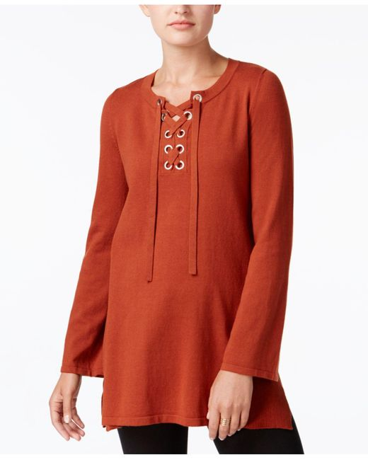 Style & Co. | Red Lace-up Tunic Sweater | Lyst
