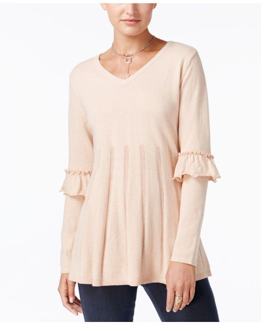 Style & Co. | Pink Ruffled Pleated Sweater | Lyst