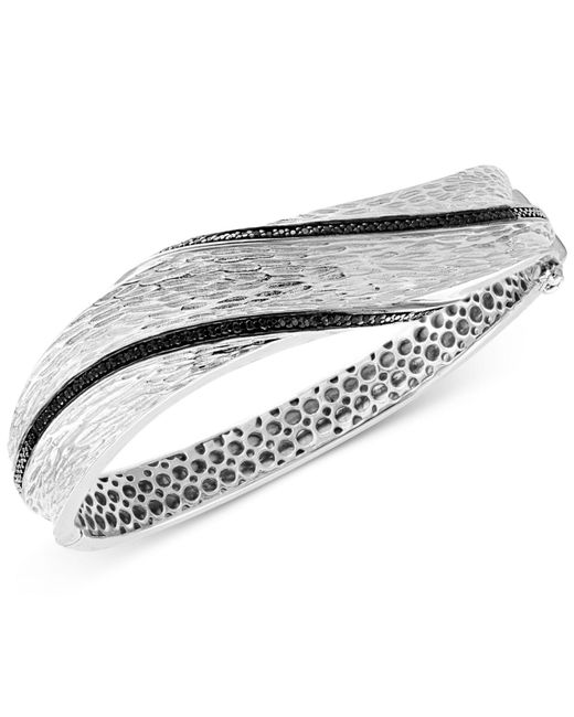 Effy Collection - Metallic Diamond Textured Bangle Bracelet (3/8 Ct. T.w.) In Sterling Silver - Lyst