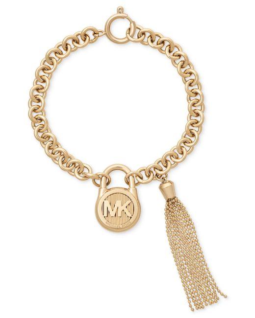 Michael Kors | Metallic Gold-tone Stainless Steel Padlock Charm & Chain Tassel Bracelet | Lyst