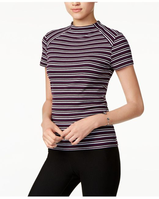 Kensie | Blue Striped Mock-neck Top | Lyst