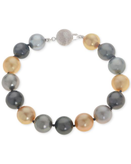 Macy's - Metallic Cultured Tahitian And Golden South Sea Pearl (10mm) Bracelet - Lyst