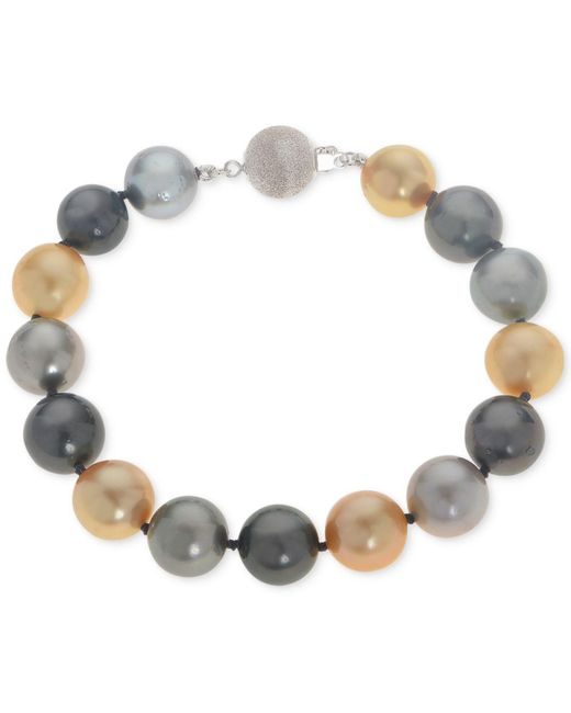 Macy's | Metallic Cultured Tahitian And Golden South Sea Pearl (10mm) Bracelet | Lyst