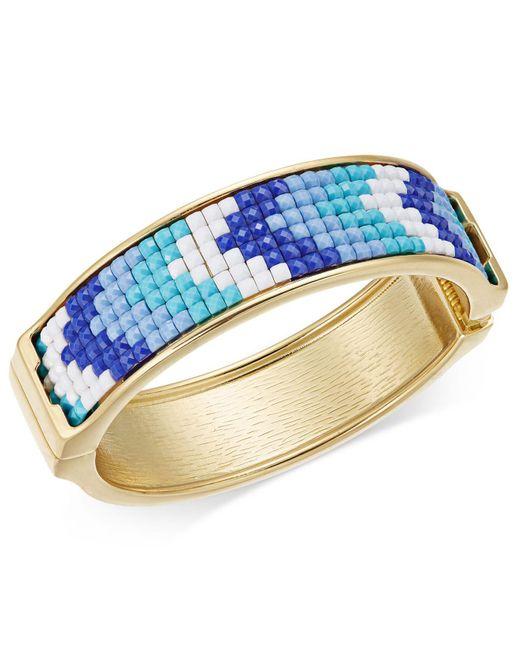 INC International Concepts | Metallic Gold-tone Blue & White Stone Hinged Bangle Bracelet | Lyst