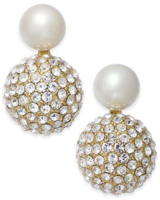 Kate Spade | Metallic Gold-tone Imitation Pearl And Fireball Drop Earrings | Lyst